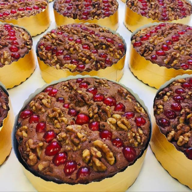Dundee Cake - Brandy flavoured Fruit cake, with pecans. For delivery between 17th & 24th December
